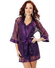 Dreamgirl Robe & Chemise - Purple, Black