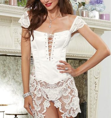 Dreamgirl Satin Corset - White