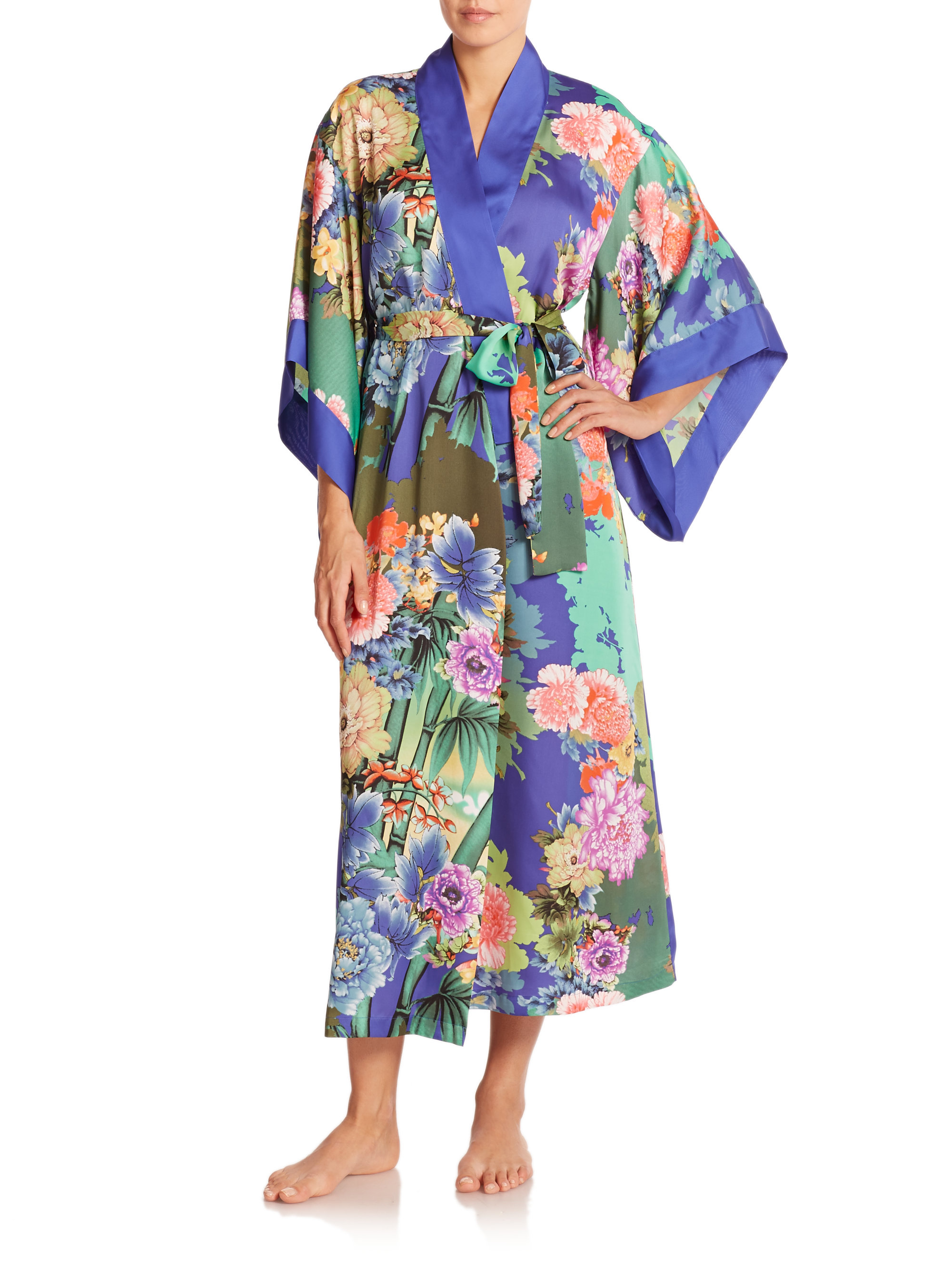 Natori Long Satin Robe - Tahiti - Ribbons & Bows Intimates | Lubbock ...