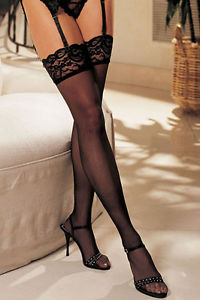 Shirley of Hollywood Lace Thigh-High - Black, Nude, White