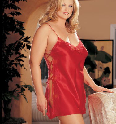 Shirley of Hollywood Chemise Plus Size - Red, Black