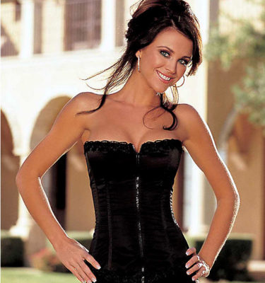 Shirley of Hollywood Satin Corset - Black