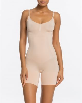 Spanx Bodysuit Mid-Thigh - Nude, Black